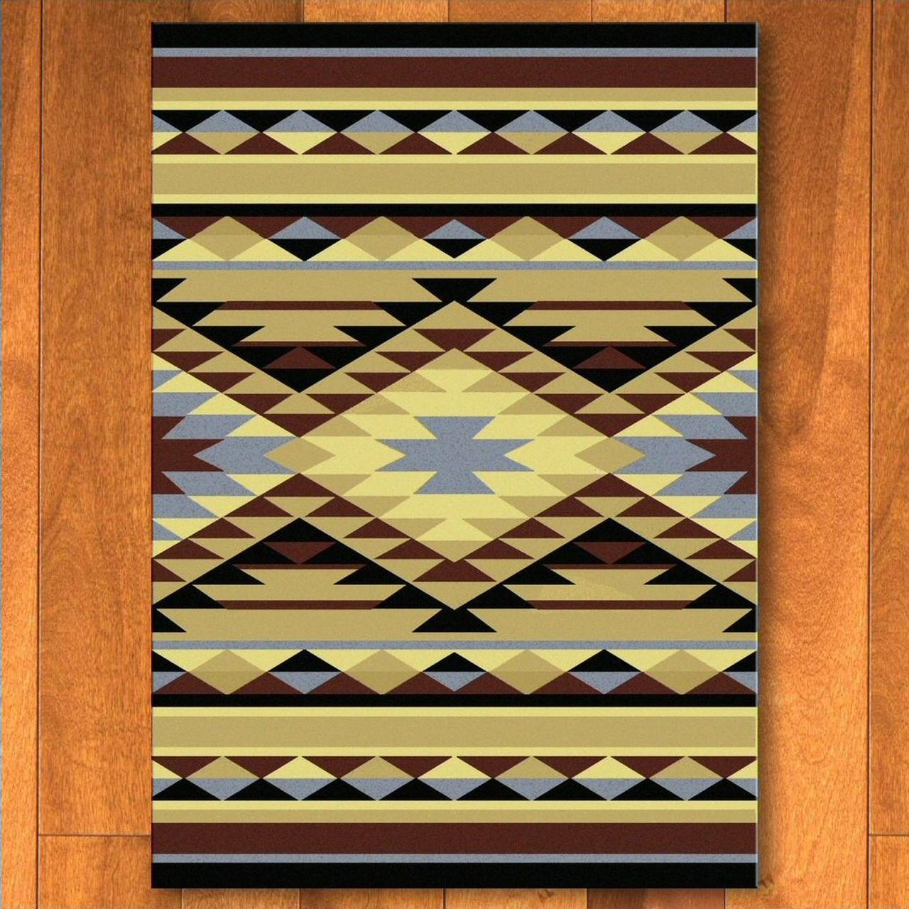 4 X 5 Sallisaw Blue Southwest Rectangle Rug Floor Rug Area Rug