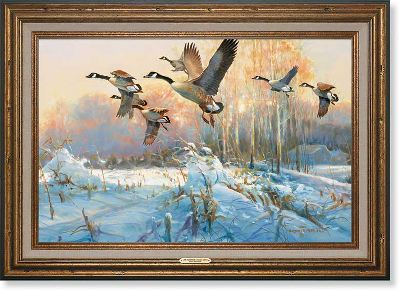 Late Departure Canada Geese Framed Canvas Art Print Wall Art Wall Decor Wild Wings