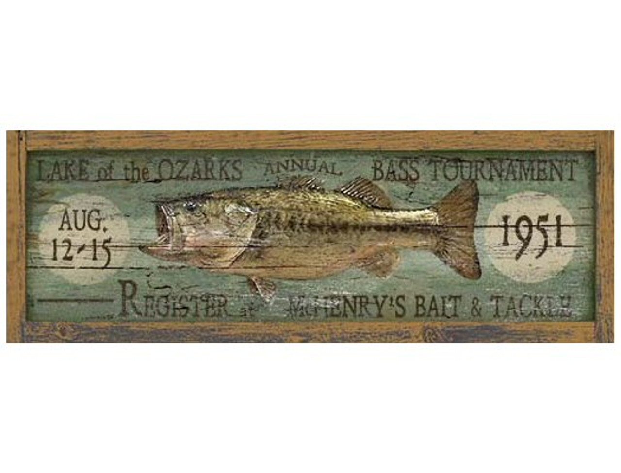 Bait and Tackle Metal Sign Distressed Vintage Fishing Wall Decor 5 x 20