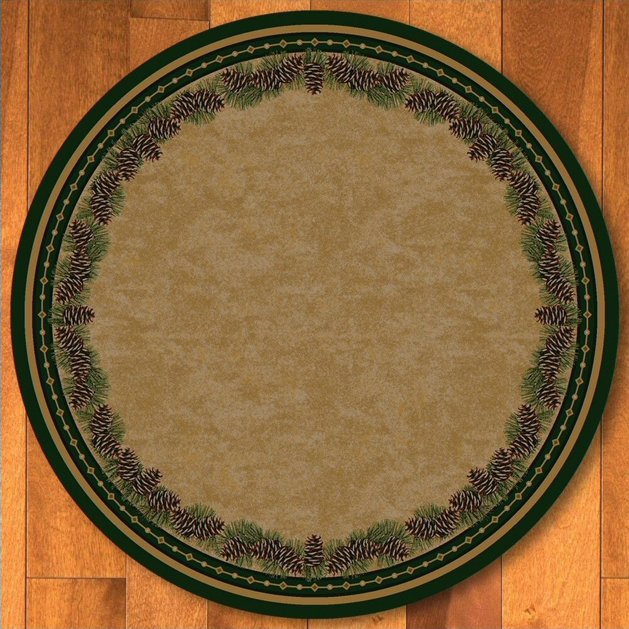 8 Pine Cone Mountain Green Nature Round Rug Floor Rug