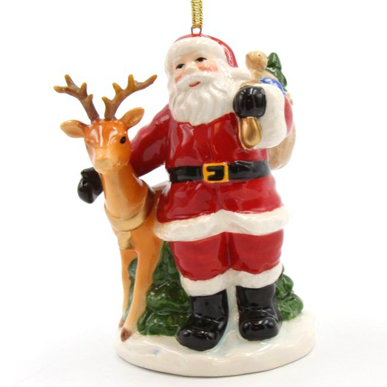 Santa With Reindeer Christmas Tree Ornaments Set Of 2 Christmas Decorations Cosmos