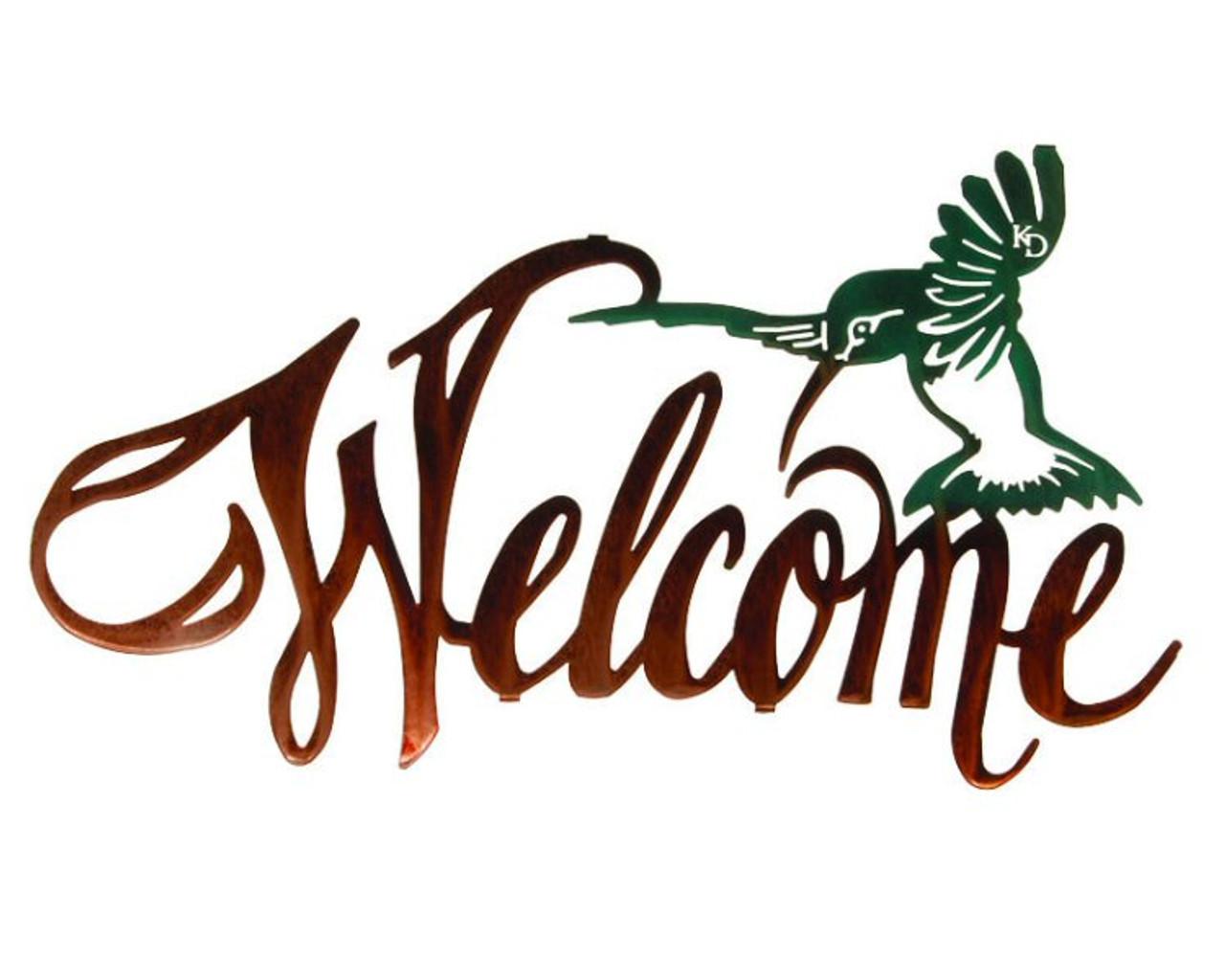 20 Hummingbird Metal Welcome Sign By Kathryn Darling