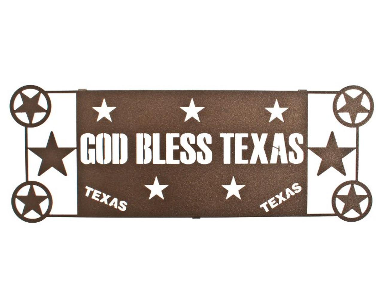 17 God Bless Texas Metal Wall Art By Joel Sullivan Espresso Finish