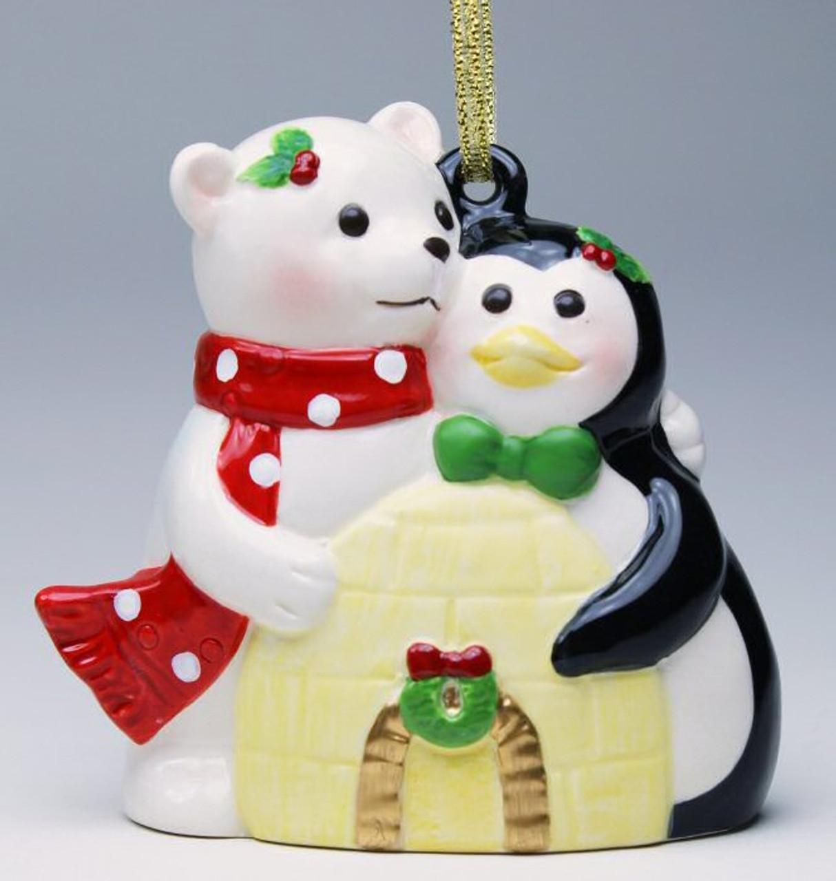 Set of 2 Polar Bear With Penguin Ornaments w