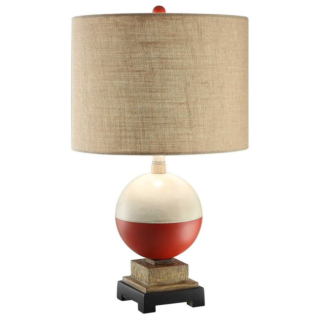 Bobber Fishing Resin Table Lamp With Burlap Shade   Wildlife Style Lighting