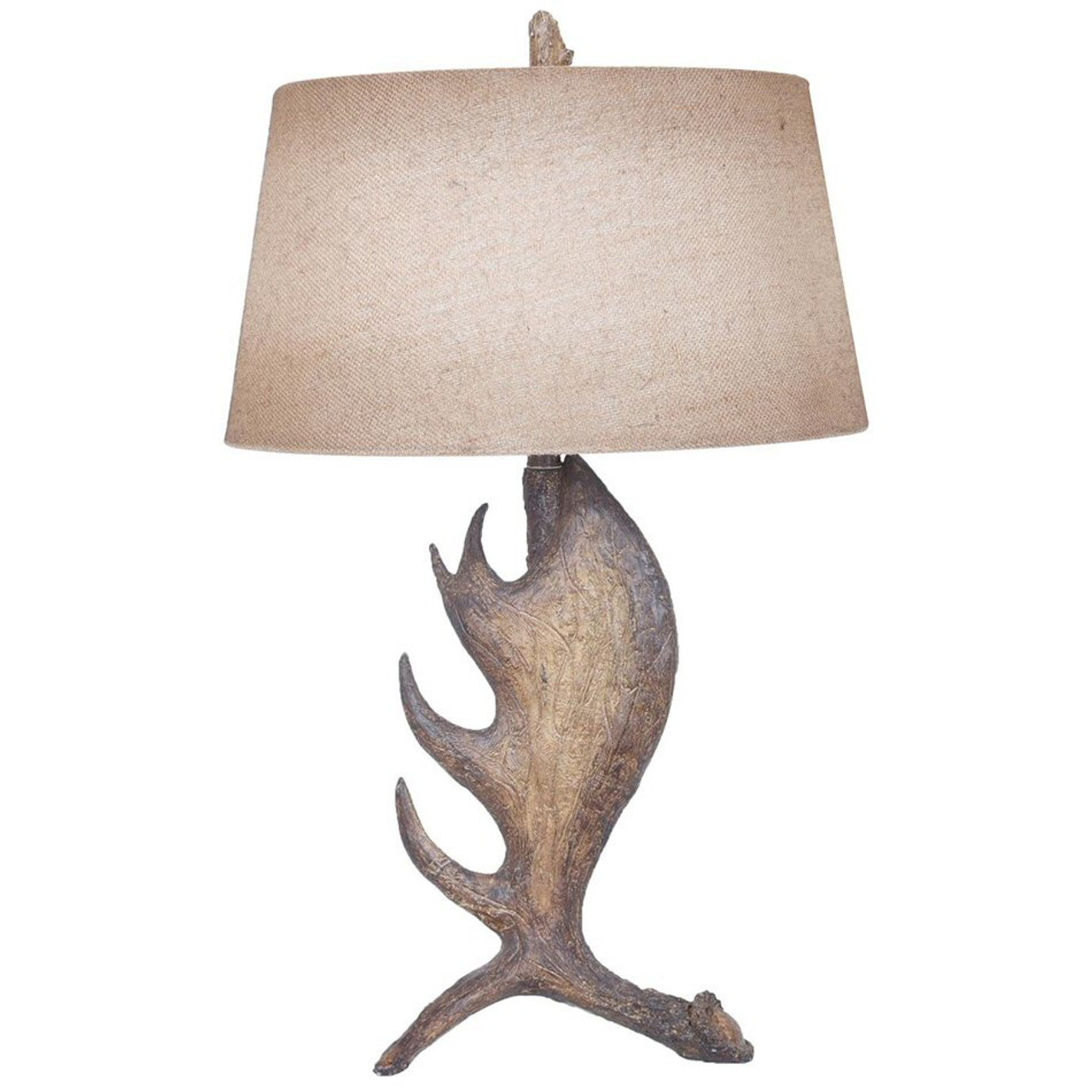 Moose Shed Antler Resin Table Lamp With Antique Burlap Shade   Wildlife  Style Lighting
