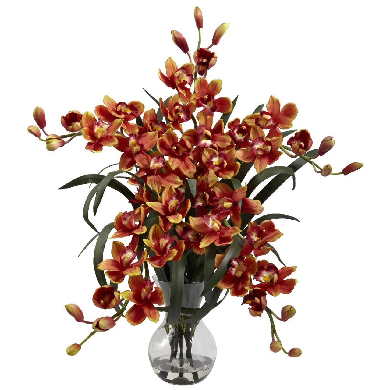 Large Burgundy Cymbidium Silk Flower Arrangement With Vase Artificial Flowers Silk Flowers