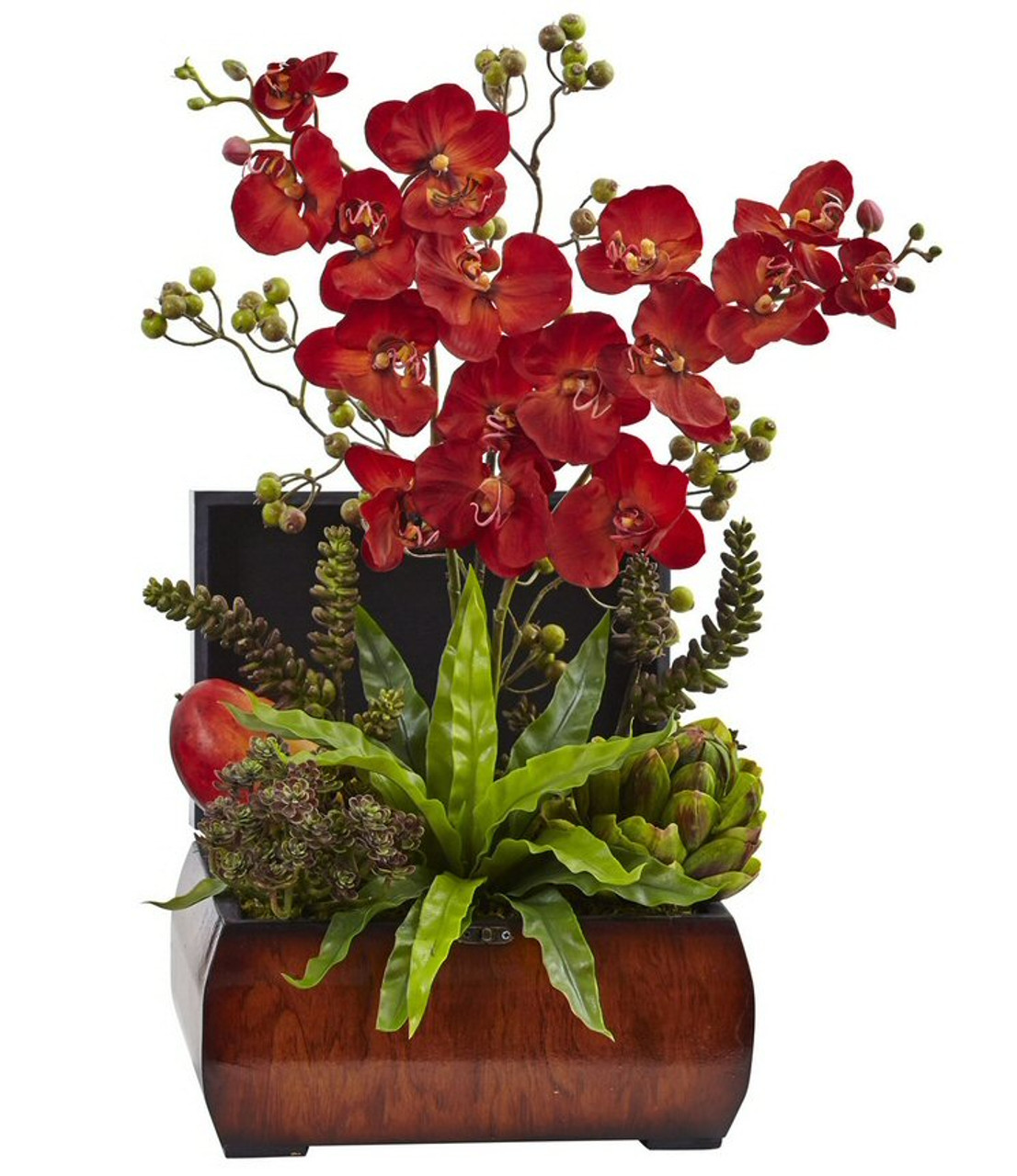 Autumn Orchid And Succulent Silk Flower Arrangement With Chest Artificial Flowers Silk Flowers