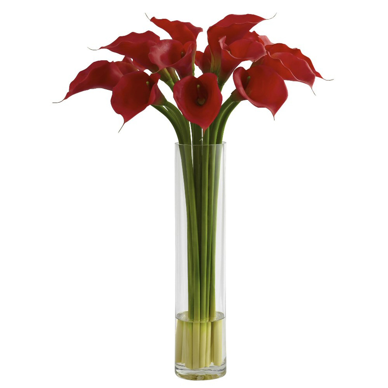 Red Calla Lily Silk Flower Arrangement With Large Cylinder Vase Artificial Flowers Silk Flowers