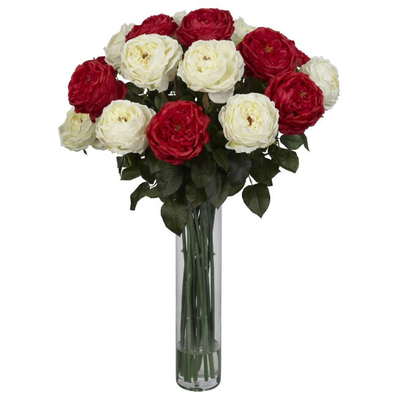 Nearly Natural Fancy Rose Silk Flower Arrangement Red White Artificial Flowers Silk Flowers