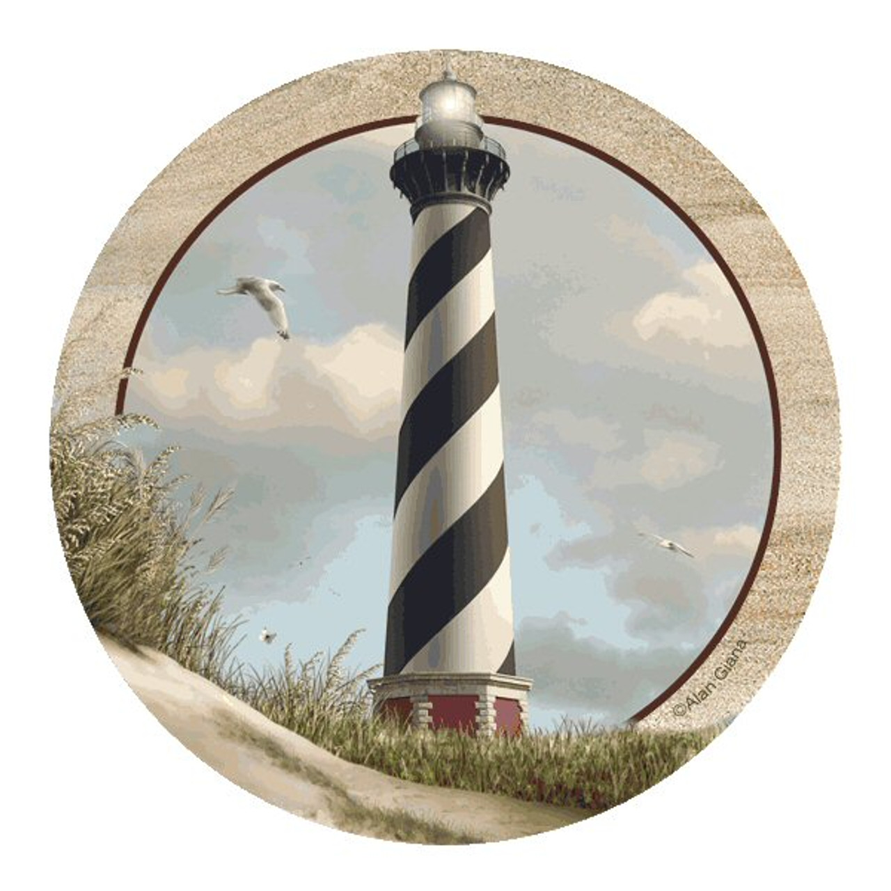 Cape Hatteras Lighthouse Sandstone Coasters By Alan Giana Set Of 8 Drink Coasters Thirstystone