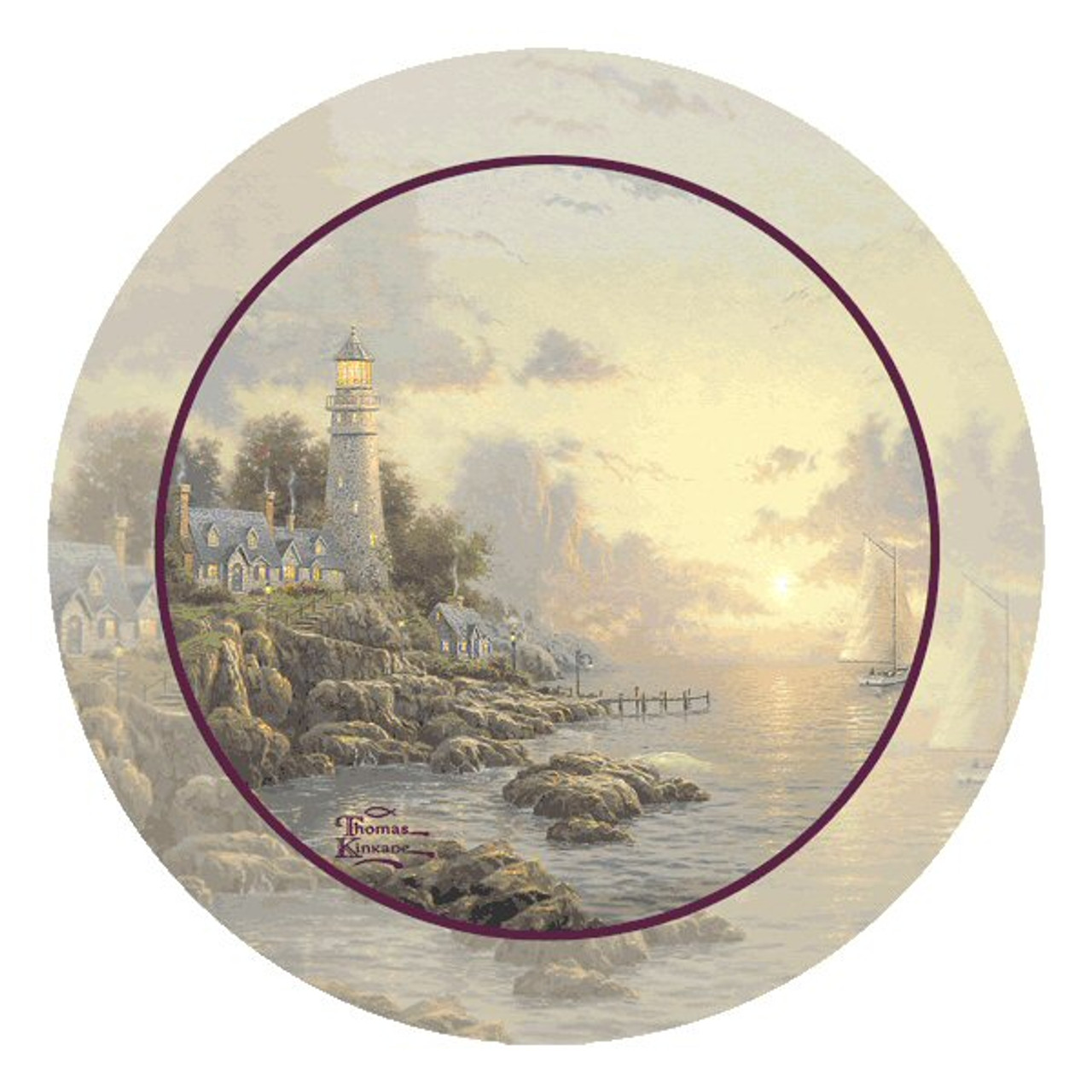 The Sea Of Tranquility Lighthouse Coasters By Thomas Kinkade Set Of 8 Drink Coasters Thirstystone