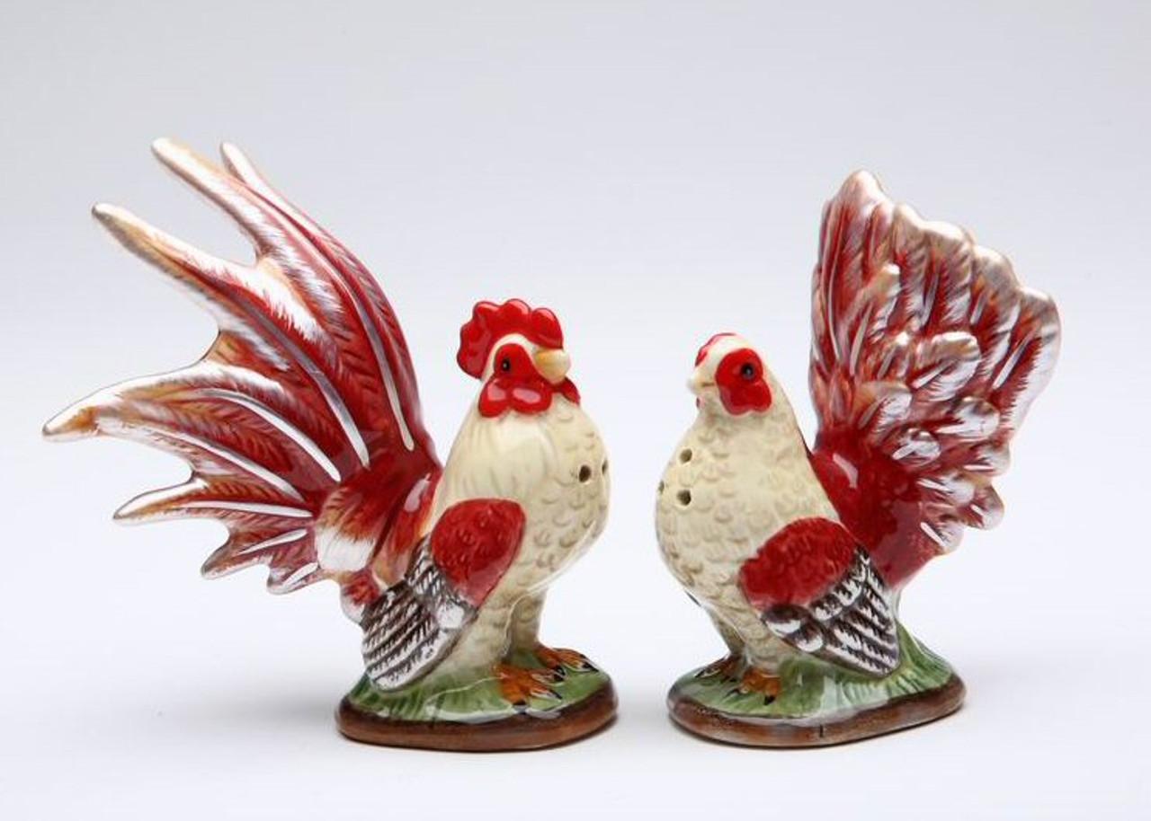Retro Vintage Black Hen and Rooster Ceramic Salt and Pepper