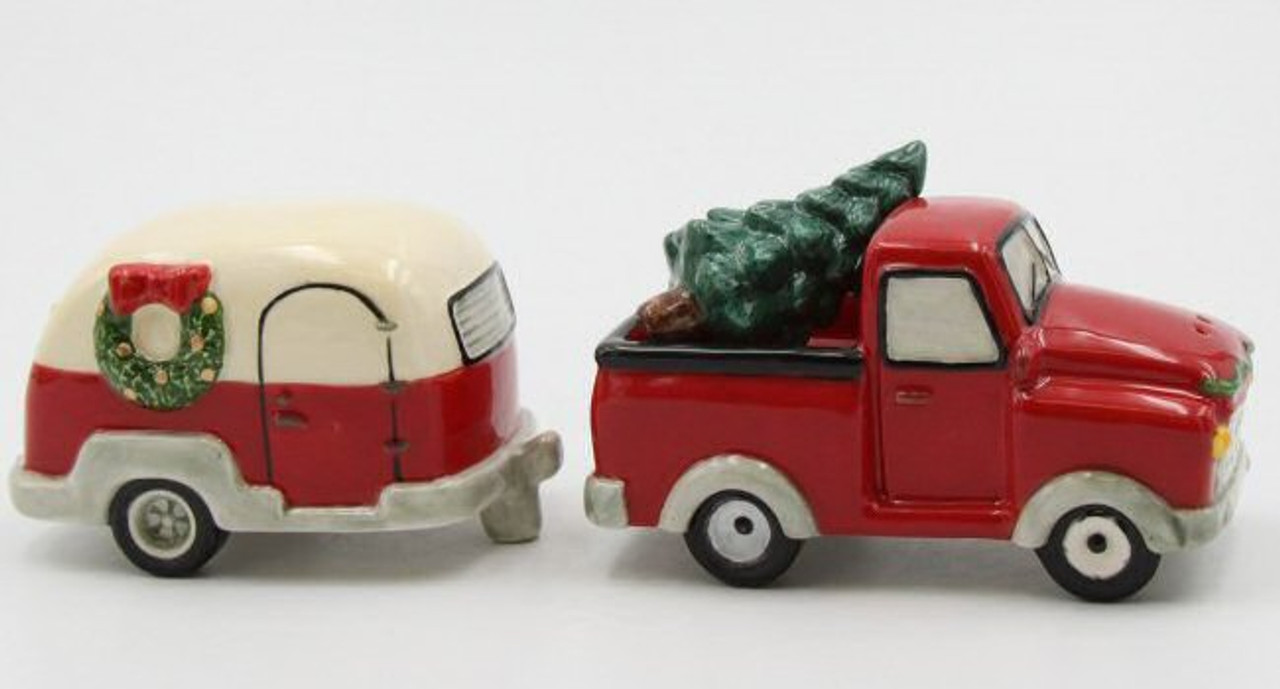 Christmas Red Truck.Christmas Red Truck And Camper Trailer Salt Pepper Shakers Set Of 4