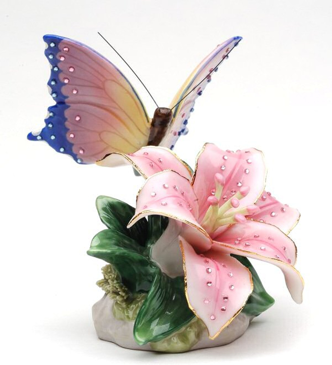 f7c95a0a7 Butterfly with Lily Flower Musical Music Box Sculpture - Cosmos