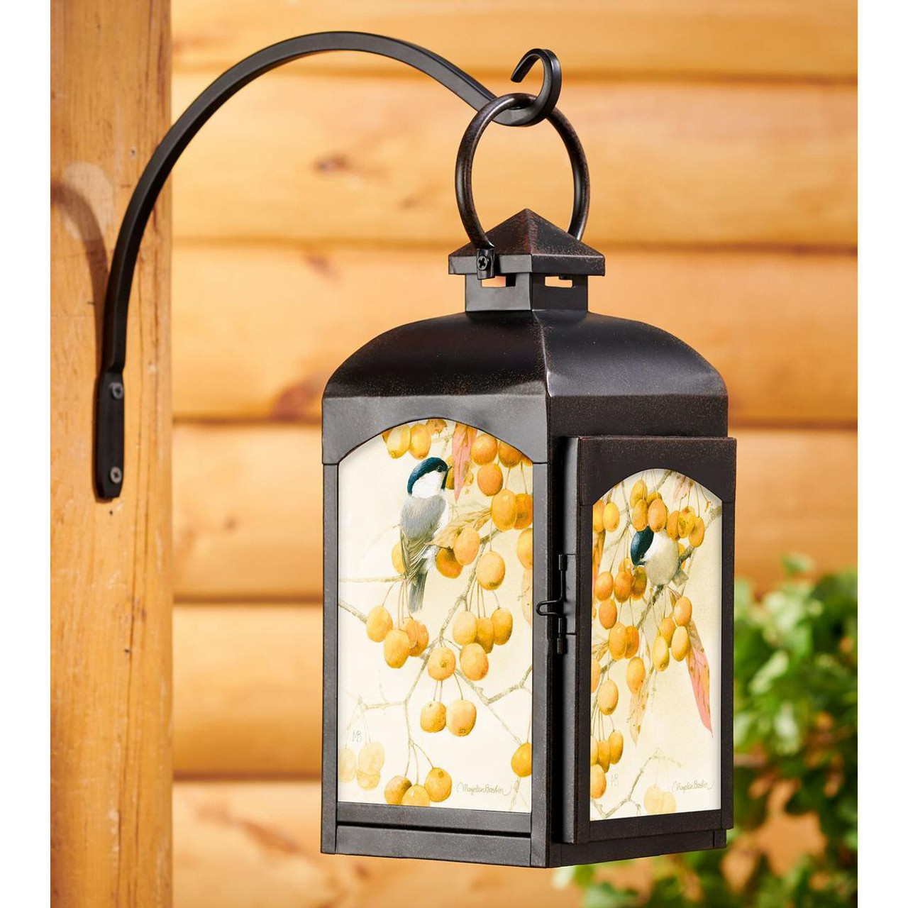 Chickadee Birds And Crabapples Black Metal And Glass Candle Lantern By Marjolein Bastin Candle Accessories Wild Wings