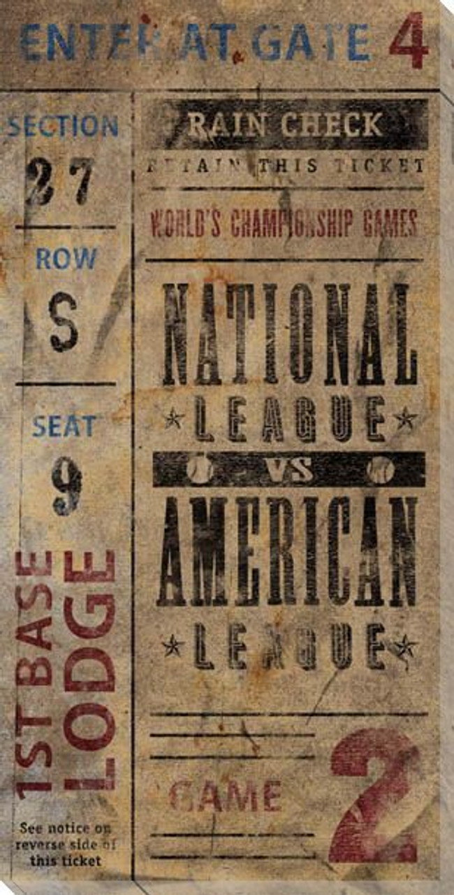 Vintage Baseball Game 2 Tickets Wrapped Canvas Giclee