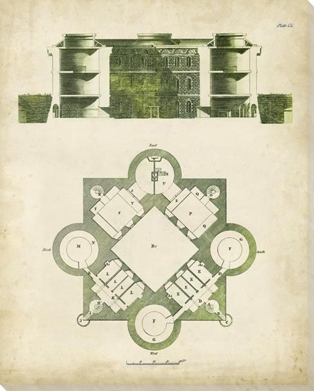 Architectural Blueprint I Wrapped Canvas Giclee Art Print Wall Art Wall Decor Artwork