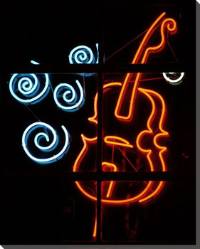 Bass Neon Sign Wrapped Canvas Giclee Print Wall Art