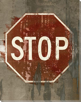 Road Sign Stop Wrapped Canvas Giclee Print Wall Art
