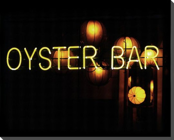 Oyster Bar Neon Sign Wrapped Canvas Giclee Print Wall Art