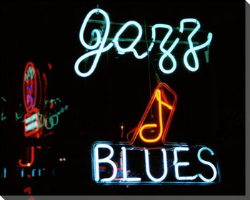 Jazz & Blues Neon Sign Wrapped Canvas Giclee Print Wall Art