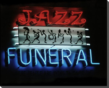 """Jazz Funeral"" Neon Sign Wrapped Canvas Giclee Print Wall Art"