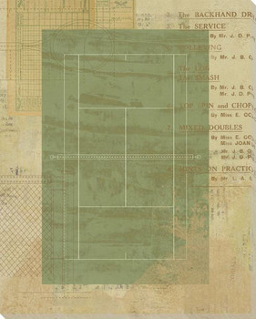 Tennis Court Diagram Wrapped Canvas Giclee Print Wall Art