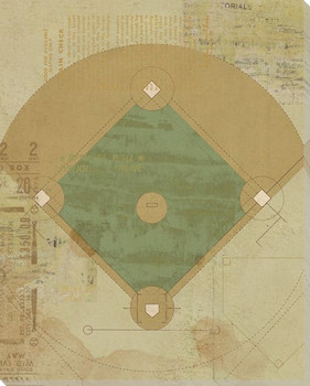 Baseball Field Diagram Wrapped Canvas Giclee Print Wall Art