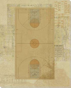 Basketball Court Diagram Wrapped Canvas Giclee Print Wall Art