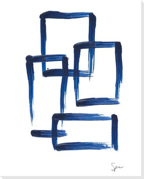 Indigo Squares VI Wrapped Canvas Giclee Art Print Wall Art