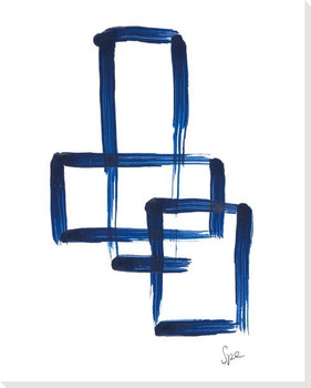 Indigo Squares III Wrapped Canvas Giclee Art Print Wall Art