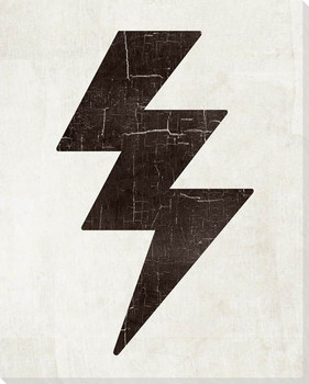 Bold Shapes Lightning Symbol Wrapped Canvas Giclee Print Wall Art