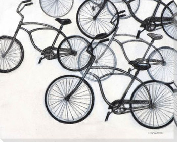 5 Bikes Wrapped Canvas Giclee Print Wall Art