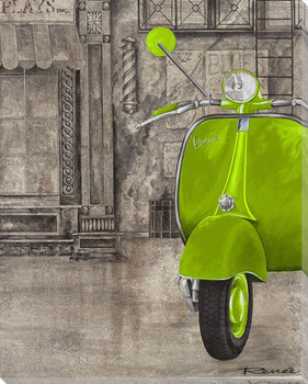 Green Vespa Wrapped Canvas Giclee Print Wall Art