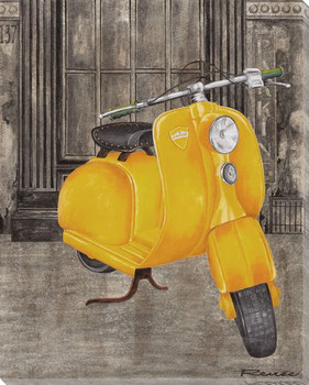 Yellow Vespa Wrapped Canvas Giclee Print Wall Art