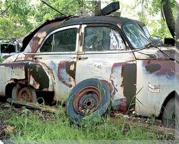 Deteriorating Car Wrapped Canvas Giclee Print Wall Art