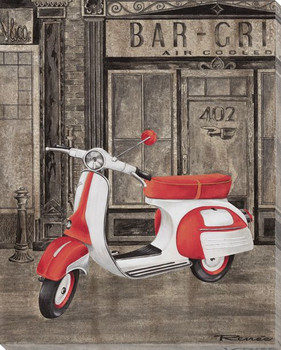 Red and White Vespa Wrapped Canvas Giclee Print Wall Art