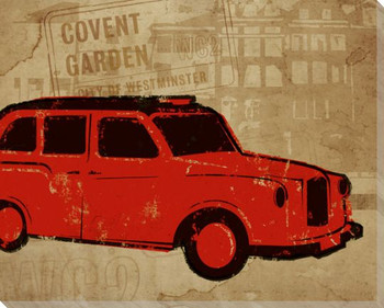 London Commute Taxi Wrapped Canvas Giclee Print Wall Art