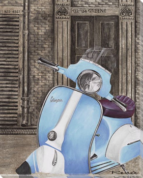 Blue and White Vespa Wrapped Canvas Giclee Print Wall Art