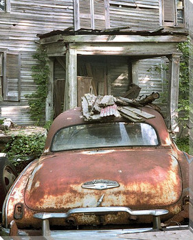 Rusty Car in Front of House Wrapped Canvas Giclee Print Wall Art