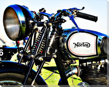 Norton Motorcycle Handlebar Wrapped Canvas Giclee Print Wall Art