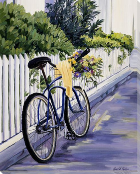 Delivering Flowers on a Bike Wrapped Canvas Giclee Print Wall Art
