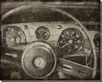 Vintage Roadster Detail Steering Wheel Front Wrapped Canvas Art Print