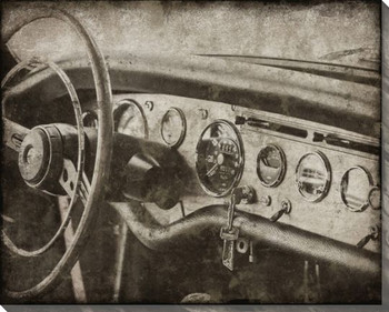Vintage Roadster Detail Dashboard Wrapped Canvas Giclee Print Wall Art