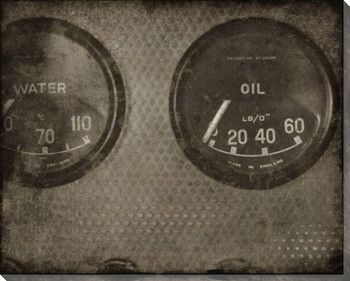 Vintage Roadster Detail Oil Gauge Wrapped Canvas Giclee Print Wall Art
