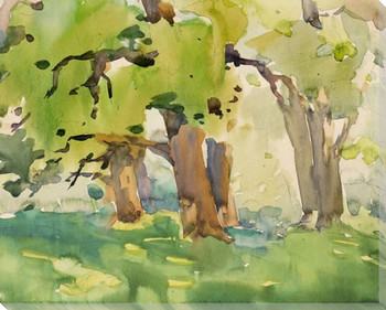 Landscape C 1955 Trees Wrapped Canvas Giclee Print Wall Art