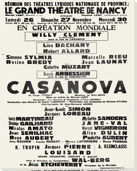 Casanova Theater Poster Wrapped Canvas Giclee Print Wall Art