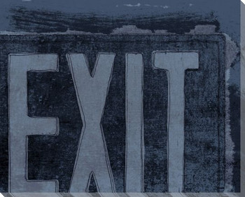 Blue At the Movies Exit Sign Wrapped Canvas Giclee Print Wall Art
