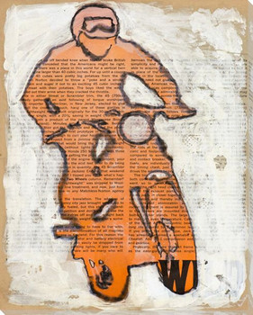 Orange Bike Wrapped Canvas Giclee Print Wall Art
